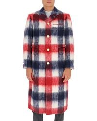 Thom Browne Single-breasted Checked Coat - Red