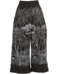 Sacai Printed Wide-leg Trousers - Black