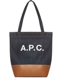 A.P.C. Axelle Denim Small Tote Bag Os Cotton,denim,leather - Blue
