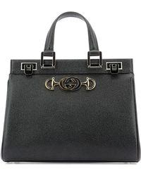 ae44ebc689fe Gucci Women's Zumi Leather Top Handle Bag - Black in Brown - Lyst