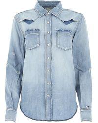 Saint Laurent Distressed Denim Shirt - Blue