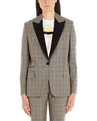Stella McCartney Contrasting Collar Plaid Blazer - Gray