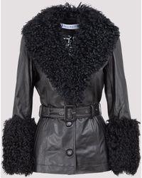 Saks Potts Shearling-trimmed Leather Jacket - Black