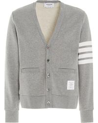 Thom Browne 4-bar Loopback Cardigan - Grey