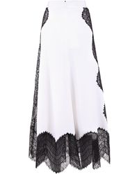 Givenchy Lace Inserts A-line Skirt - White