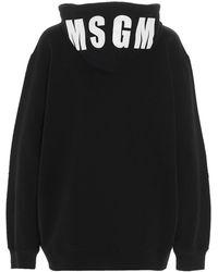 MSGM Logo Printed Hoodie - Black