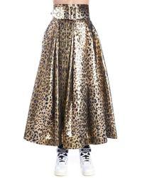 1d243b1ac Sara Battaglia - Leopard Print Belted Full Skirt - Lyst