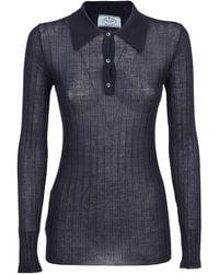 Prada Ribbed Long-sleeve Polo Shirt - Blue
