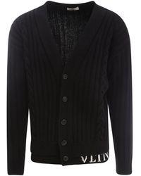 Valentino Vltn Intarsia Rib Knit Cardigan - Black