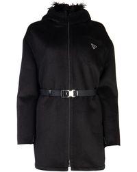 Prada Belted Hooded Coat - Black