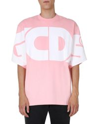 Gcds Oversize Fit Crew Neck Cotton T-shirt With Maxi Logo - Pink