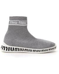 Miu Miu Sock Trainers - Grey