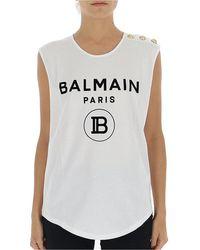 Balmain Logo Printed Tank Top - White
