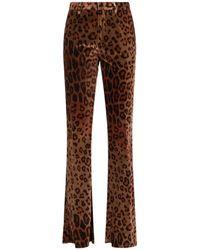 Etro Animal Print Velvet Pants - Brown