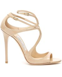 Jimmy Choo Lang Patent Leather Sandals - Natural