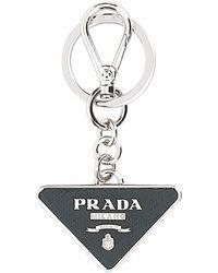 Prada Triangle Logo Keyring - Black