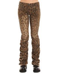 R13 Draped Leopard Print Jeans - Brown