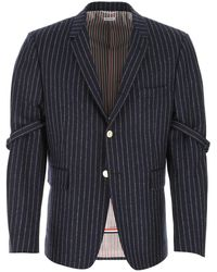 Thom Browne Embroidered Wool Blazer Uomo - Blue