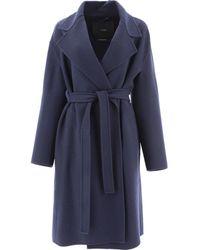 "Max Mara Atelier ""doppia"" Cashmere Coat - Blue"