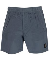Stone Island Logo Patch Swim Shorts - Blue