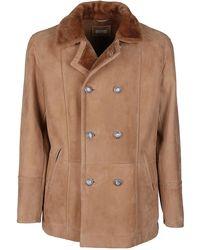 Brunello Cucinelli Double Breasted Leather Coat - Brown