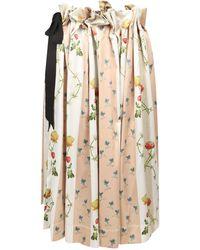 Simone Rocha Asymmetric Floral Pleated Midi Skirt - Natural