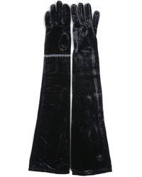 MM6 by Maison Martin Margiela Velvet Long Gloves - Black