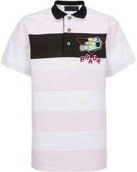 Prada Graphic Printed Striped Polo Shirt - White