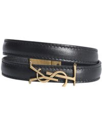 16b20f206f2 Saint Laurent Ysl Double Wrap Bracelet In Black Leather And Light ...
