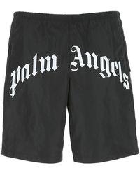 Palm Angels Logo Printed Swim Shorts - Black