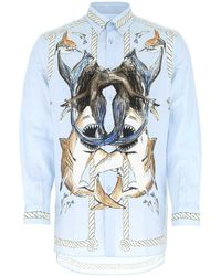 Burberry Shark Printed Shirt - Blue