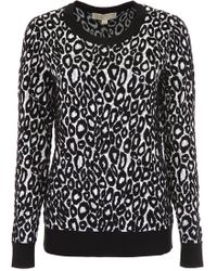37ee6467e2e5aa MICHAEL Michael Kors Leopard Print Sweater in Black - Lyst