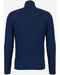 Loro Piana Zipped Turtleneck Knit Jumper - Blue