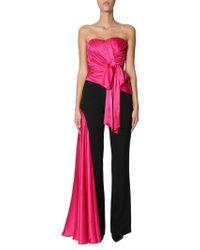 Moschino - Draped Sleeveless Silk Jumpsuit - Lyst