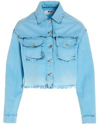 MSGM Cropped Denim Jacket - Blue