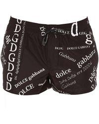 Dolce & Gabbana Monogram Printed Swim Shorts - Black