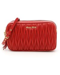6d3d423ee55c Lyst - Miu Miu Matelasse Leather Shoulder Bag - in Red