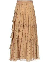 Undercover Cherry Print Ruffled Maxi Skirt - Natural