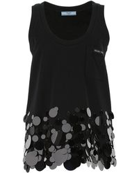 Prada Sleeveless Sequin Embellished Top - Black