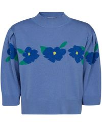 RIXO London Nell Floral Knit Sweater - Blue
