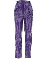 ROTATE BIRGER CHRISTENSEN Faux-leather Cropped Trousers - Purple