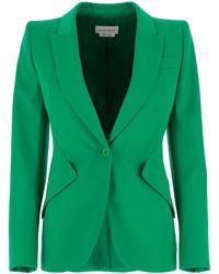 Alexander McQueen Single Breasted Blazer - Green