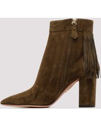 Aquazzura Fringe Detail Ankle Boots - Green
