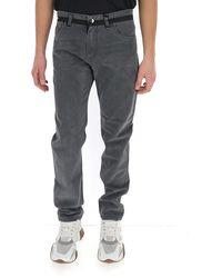 Fendi Waistband Stripe Jeans - Grey