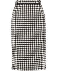 MSGM Houndstooth Tweed Skirt - Black