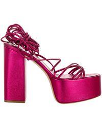 Paris Texas Lace-up Block Heel Sandals - Pink