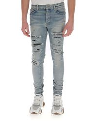 Amiri Distressed Slim Leg Jeans - Blue