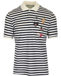 a242b99856f2 Lyst - Gucci Long Sleeve Polo Shirt in Blue for Men