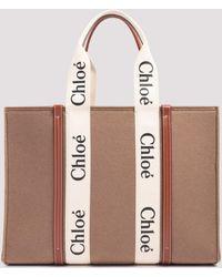 Chloé Woody Large Tote Bag - Natural