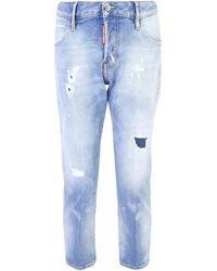 DSquared² Holes Hockney Straight Jeans - Blue